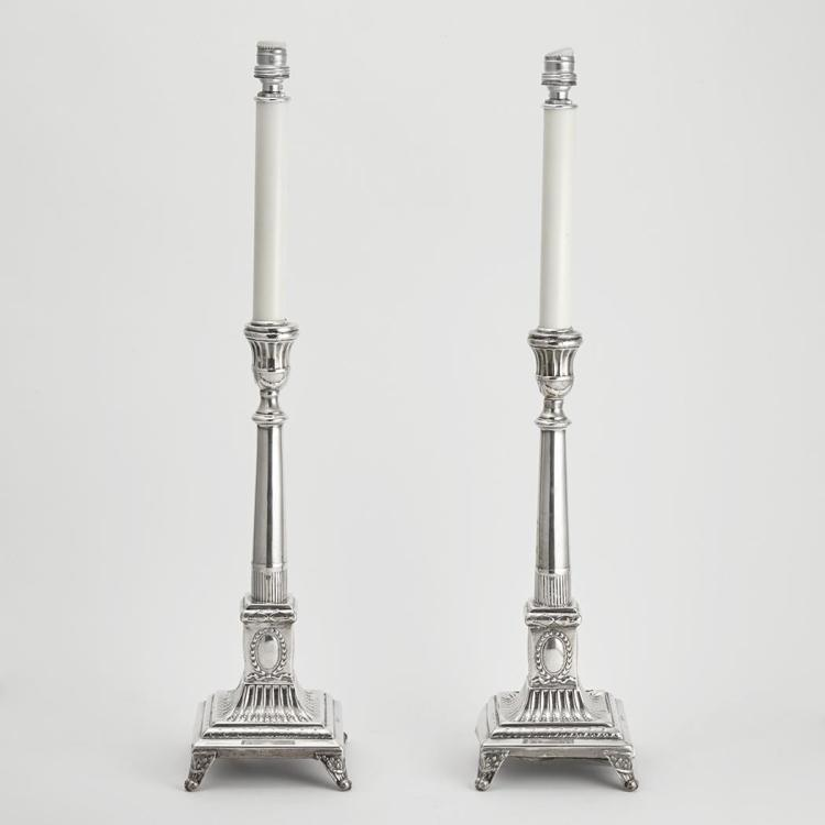 of Silver Candlestick Lamps