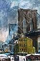 Cecil Bell American, 1906-1970 Brooklyn Bridge, Winter, 1952, Cecil Crosley Bell, Click for value