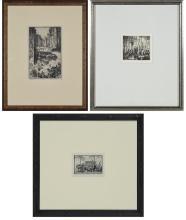 Reynold Weidenaar EIGHT STREET MARKET, WASHINGTON D.C.; MARKETPLACE Two etchingd; t/w S.L. Margolies BRIDGE TO BABYLON (3)