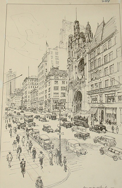 Vernon Howe Bailey American, 1874-1953 (i) Madison Avenue from 35th Street, 1935 (ii) Fifth Avenue at 54th Street, 1934