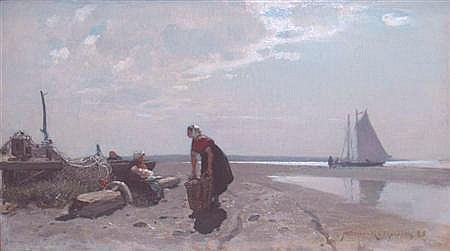 Konrad Alexander Muller-Kurzwelly German, 1855-1914 Figures on the Beach, 1885