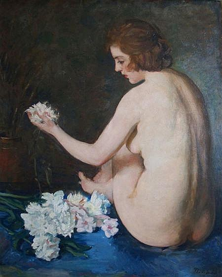 Max Bohm American, 1868-1923 Female Nude with Flowers