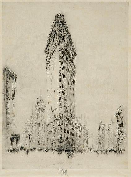 Joseph Pennell FLATIRON BUILDING Etching and drypoint