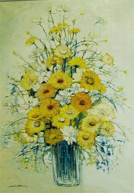 Michel Henry French, b. 1928 Spring Flowers in a Glass Vase