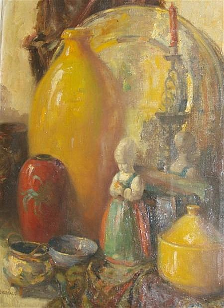 Otto Bierhals American, 1879-1944 Still Life with a Candle, Figurine, and Glassware