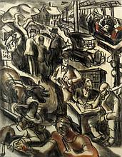 James Henry Daugherty American, 1889-1974 Suburban Life Cycle: Mural Study