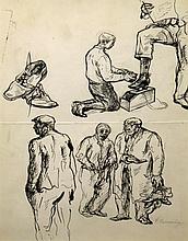 Philip Reisman American, 1904-1992 Shoe Shine: Figure Studies