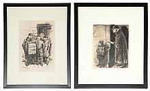 William Sharp Austrian/American, 1900-1961 (i) Old Woman Begging, 1931 (ii) Newsboy with Bodyguards, 1932