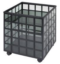 Italian 20th Century Design Black Painted Metal Rolling Bar Cabinet