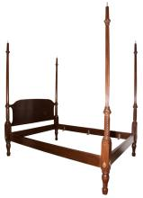 Georgian Style Full-Size Mahogany Four-Post Bedstead