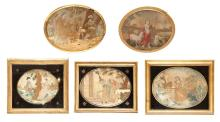 Group of Five English Needlework Pictures