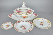 KPM Porcelain Soup Tureen and Stand and Partial Dinner Service