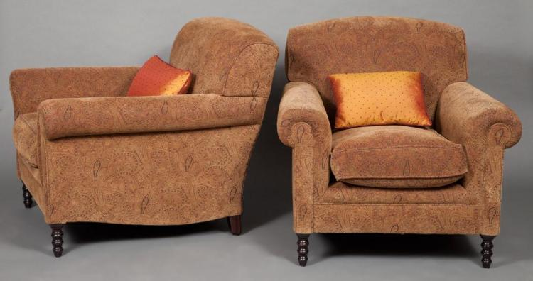 Pair of george smith upholstered club chairs together with for Small club chairs upholstered