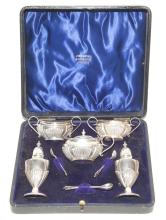 George V Sterling Silver Boxed Condiment Set