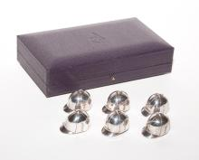 Cased Set of Six Asprey Sterling Silver Riding Cap-Form Place Card Holders