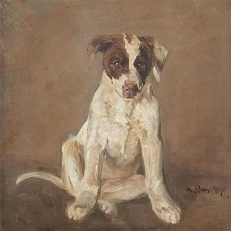 Niels Pedersen Mols Danish, 1859-1921 Seated Pointer Pup, 1894