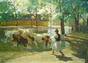 Bela Juszko Hungarian, b.1877 DROVER WITH CATTLE, circa 1921