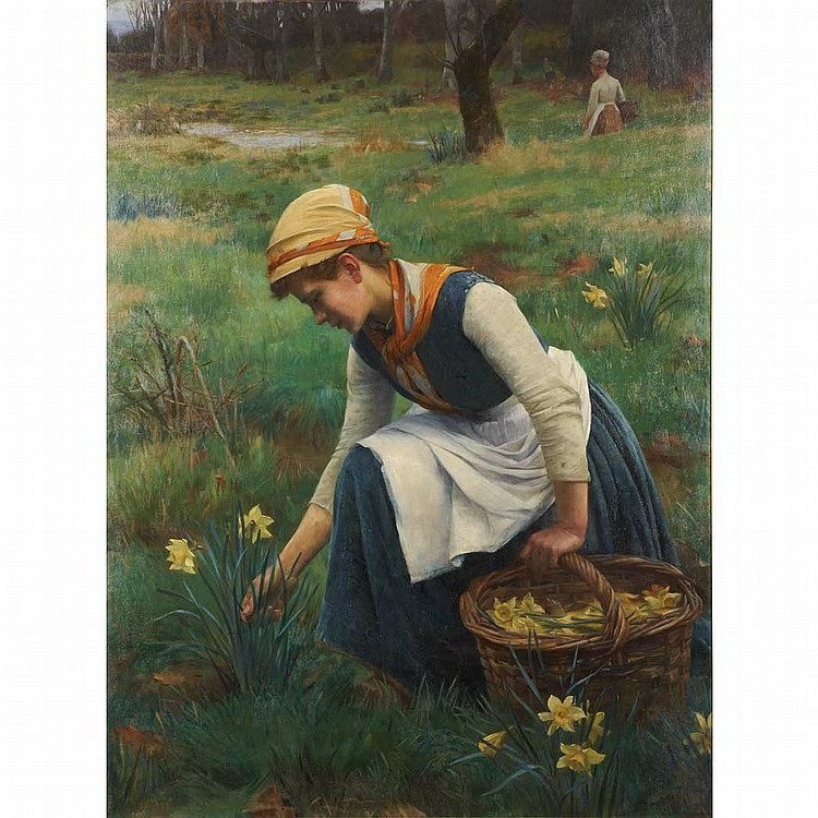 William Banks Fortescue English, 1850-1924 Picking Daffodils