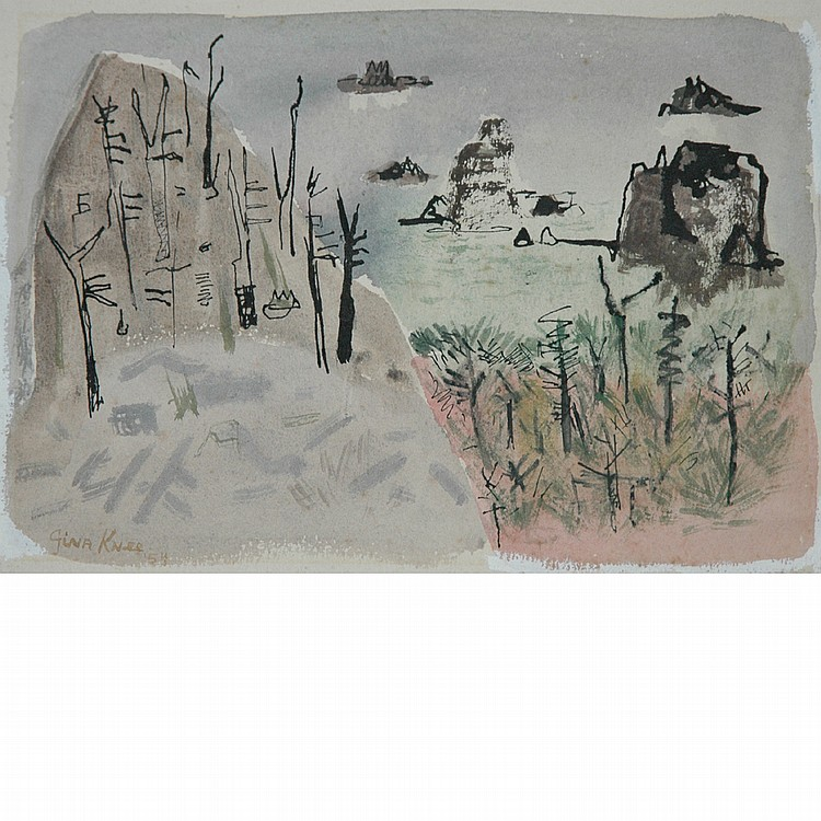 Gina Schnaufer (Brook) Knee American, 1898-1982 Rugged Coastline, 1954