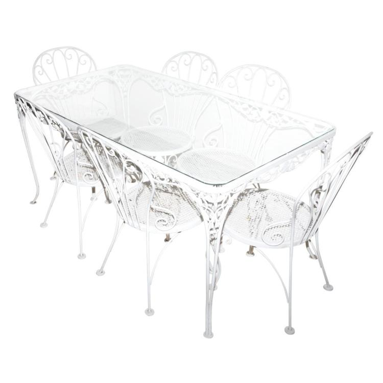 White painted metal garden dining table and six chairs en su for White metal dining table