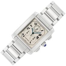 Gentleman''s Stainless Steel ''Tank Francaise'' Chronograph Wristwatch, Cartier, Ref. 2303