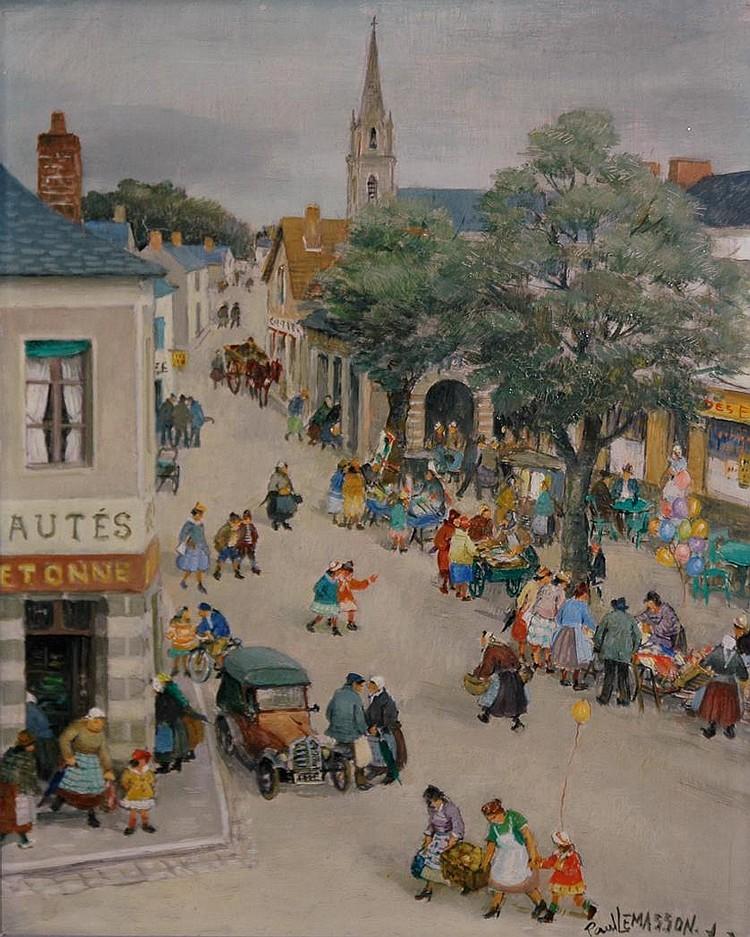Paul LeMasson French, 1897-1971 Bustling Village