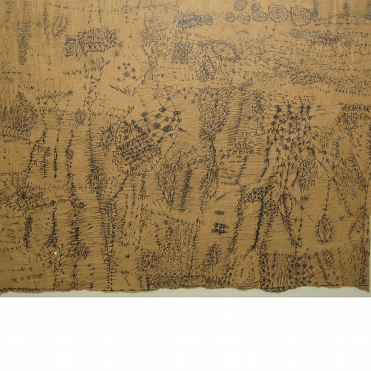 Mirit Cohen Israeli/American 1945-1990 Untitled (New York Times/Brain Drawing), 1975