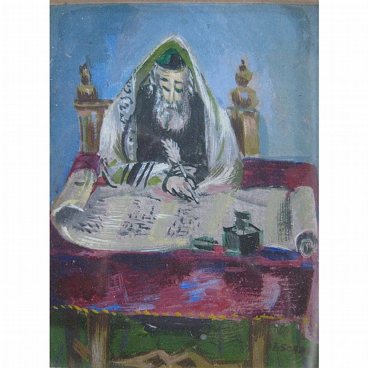Ilya Schor American, 1904-1961 Rabbi and At the Temple: Two