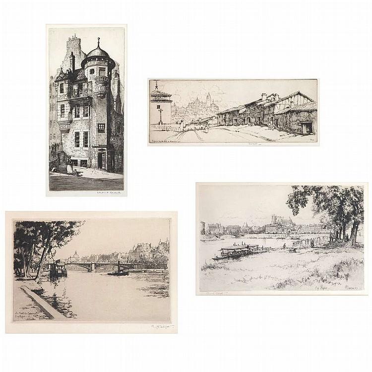 Eugene Bejot NANTES; LE PONT 2 etchings; T/w C. H. Clark EDINBURGH, etching; & Ernest D. Roth SEGOVIA FROM PORTA DE MADRID, etching (4)