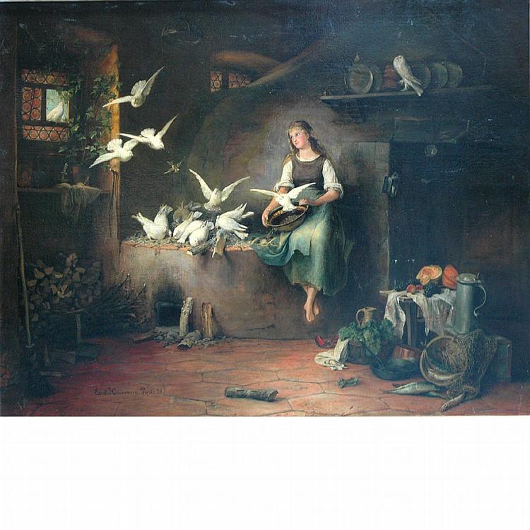 Ernst Friedrich Hausmann German, 1856-1914 Feeding Doves