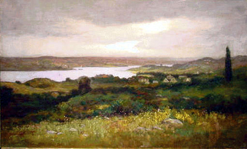 George William Whitaker 1841 - 1916 VIEW ACROSS THE RIVER VALLEY Signed and dated G.W. Whitaker/'96 (lr) Oil o...