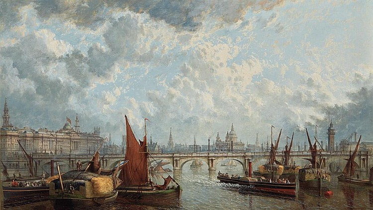 John MacVicar Anderson British, 1835-1915 A London Panorama, with a View of Somerset House, St. Paul's and the Waterloo...