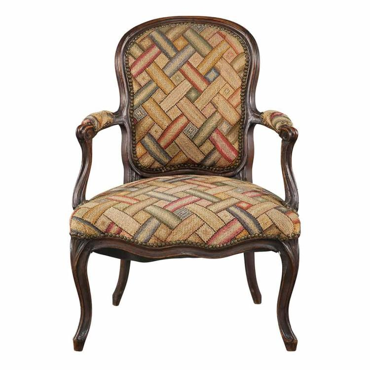 louis xv stained beechwood fauteuil en cabriolet together w. Black Bedroom Furniture Sets. Home Design Ideas