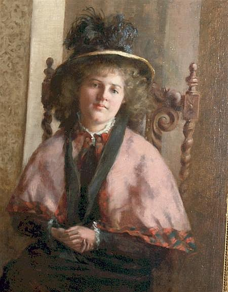 Maria R. Dixon American, d. 1896 Portrait of a Lady in a Feathered Hat