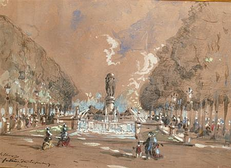Hubert Clerget French, 1818-1899 Fontaine du Luxembourg, Paris