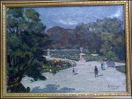 Kouyoumdjian Chahnazar Armenian, 1897-1978 Figures in a Paris Park, 1928