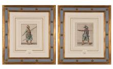 Jacques De Gheyn [MILITARY FIGURES] Two hand-colored engravings