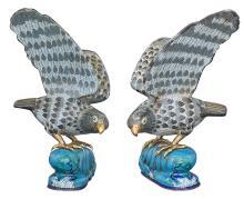 Pair of Chinese Cloisonné Enamel Hawks