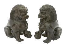 Pair of Chinese Bronze Fu Lions