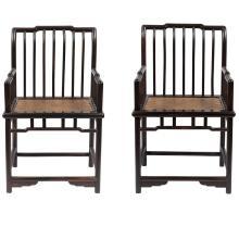 Pair of Chinese Hongmu Spindleback Armchairs