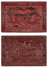 Two Chinese Cinnabar Lacquer Rectangular Trays