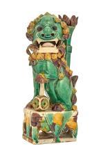 Chinese Glazed Porcelain Fu Lion Joss Stick Holder