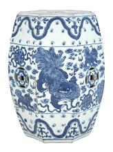 Chinese Blue and White Glazed Porcelain Octagonal Garden Seat