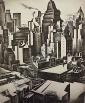 Howard Cook. TIMES SQUARE SECTOR.  Etching, signed., Howard Norton Cook, Click for value