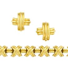 Pair of Gold Earrings and Bracelet, Tiffany & Co.