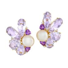 Pair of Gold, Semi-Baroque Peach Freshwater Button Pearl, Amethyst and Diamond Earclips