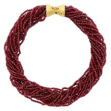 Seventeen Strand Garnet Bead Torsade Necklace with Gold Clasp