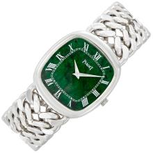 Gentleman''s White Gold and Nephrite Wristwatch, Piaget
