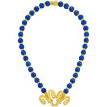 Gold and Lapis Bead Ram''s Head Necklace