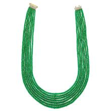 Eight Strand Emerald Bead Necklace with Two-Color Gold and Diamond Clasp
